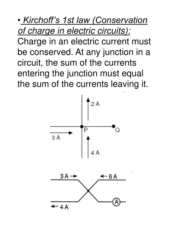 Kirchoff's 1st law (Conservation of charge in electric circuits):