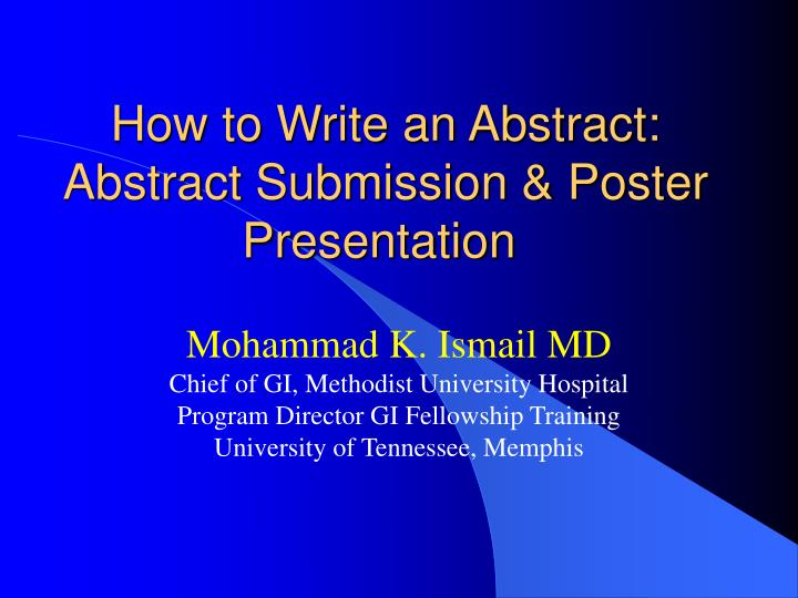 how to write an abstract abstract submission poster presentation n.
