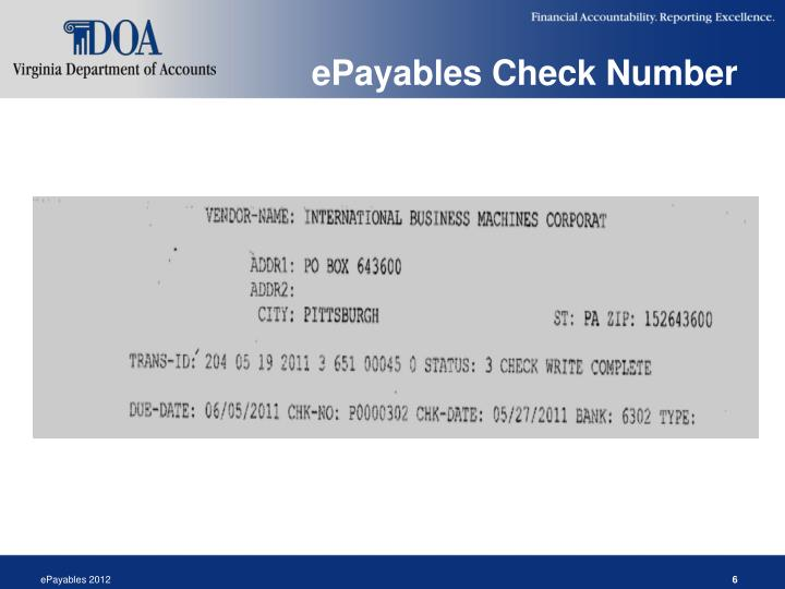 ePayables Check Number