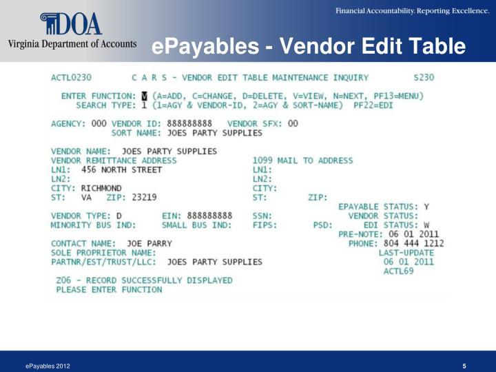 ePayables - Vendor Edit Table