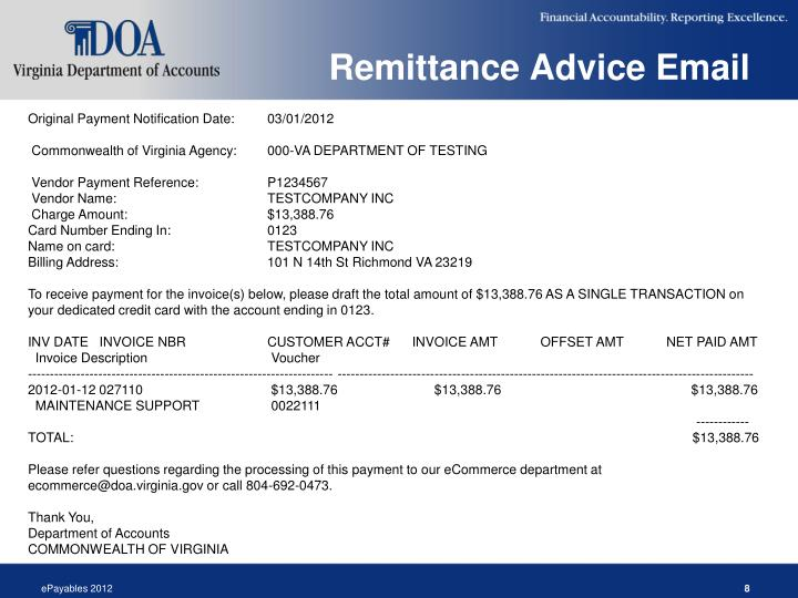 Remittance Advice Email