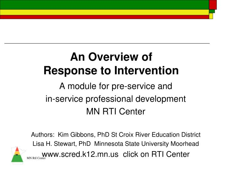an overview of response to intervention n.