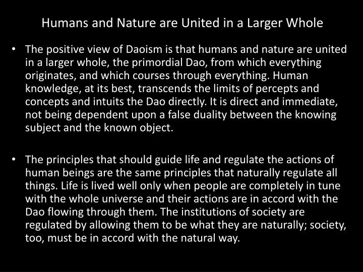 Humans and Nature are United in a Larger Whole