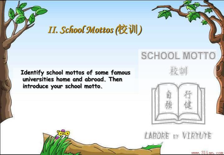 II. School Mottos (