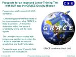 prospects for an improved lense thirring test with slr and the grace gravity mission