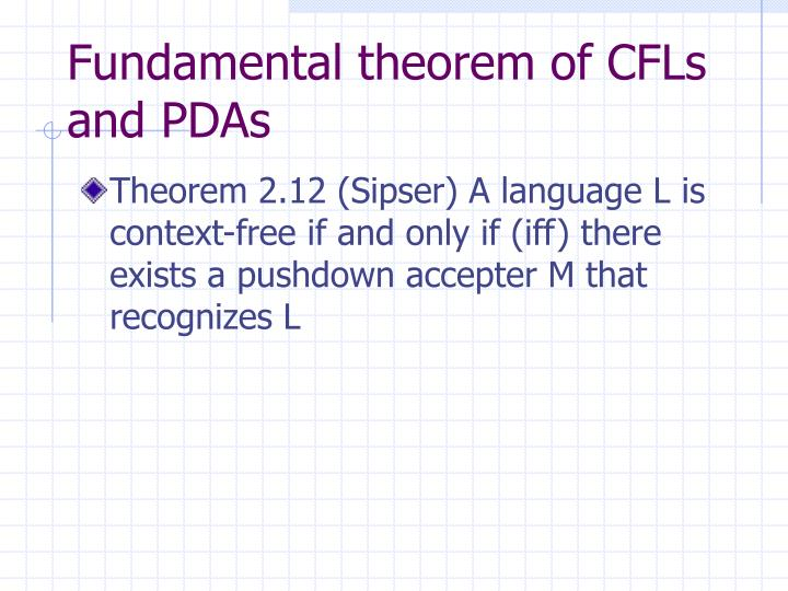 Fundamental theorem of cfls and pdas