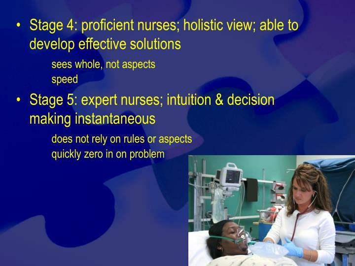 Stage 4: proficient nurses; holistic view; able to develop effective solutions