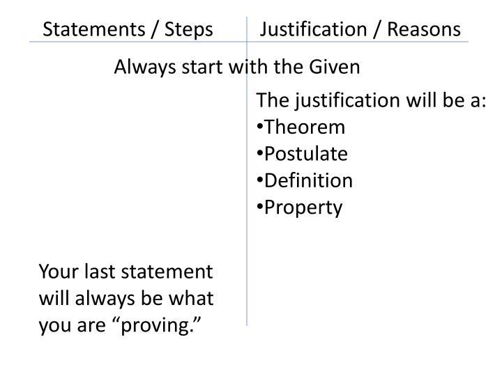 Statements / Steps