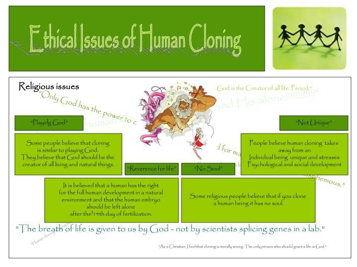 the ethical issues of human cloning Free essay: animal and human cloning: moral, ethical, and regulatory issues dolly, woolly, innocent, and sweet, strongly contrasts with the severity of the.