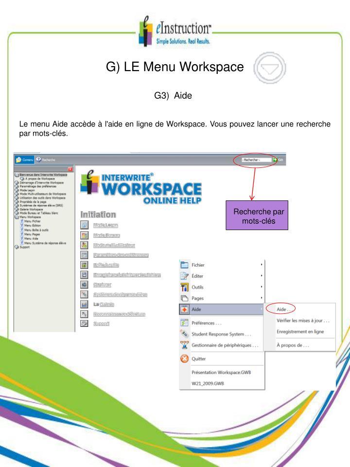 G) LE Menu Workspace