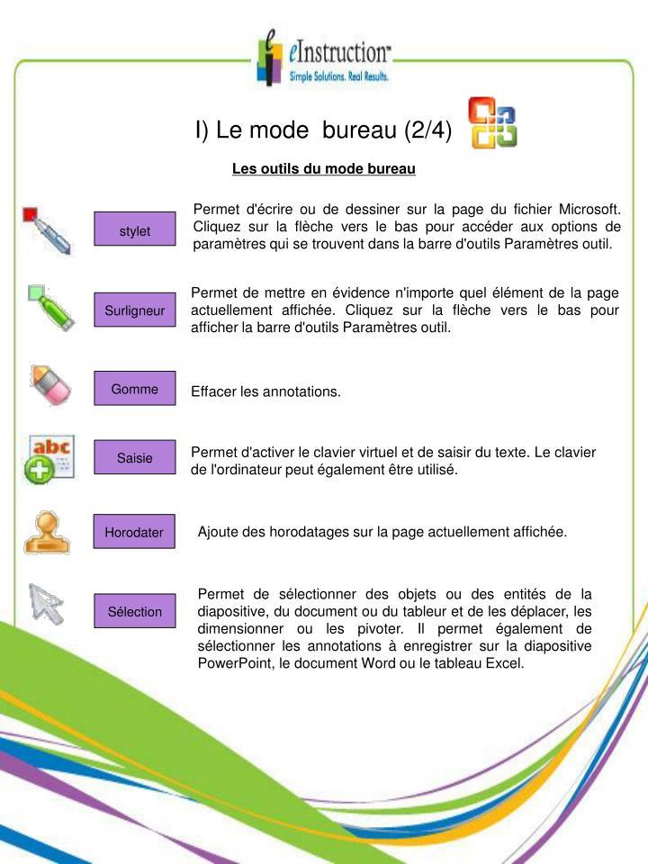 I) Le mode  bureau (2/4)