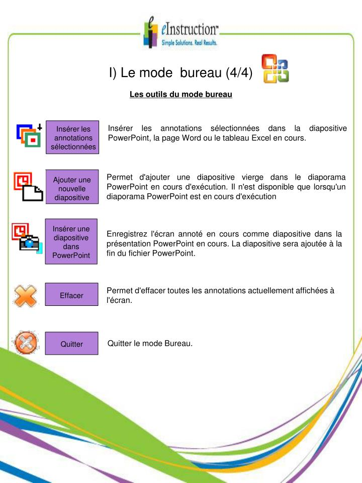 I) Le mode  bureau (4/4)