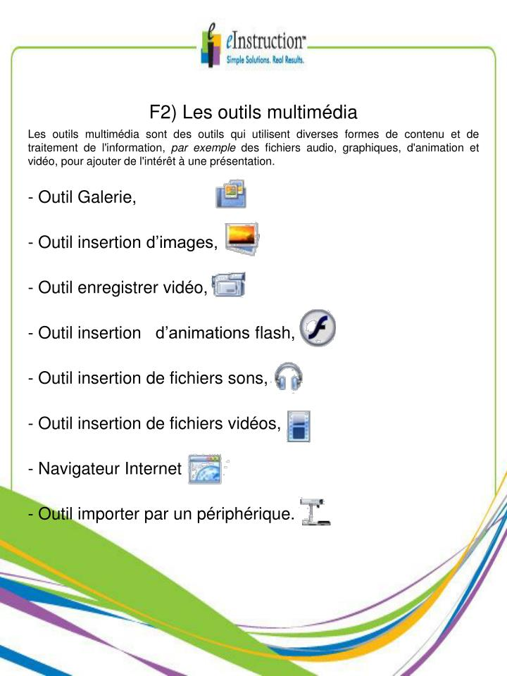 F2) Les outils multimédia