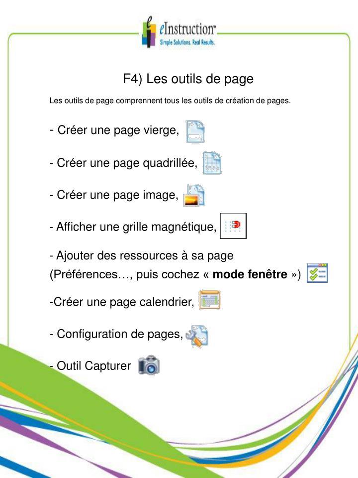 F4) Les outils de page