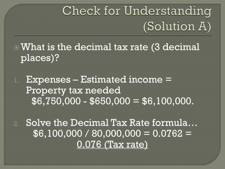 Check for Understanding (Solution A)