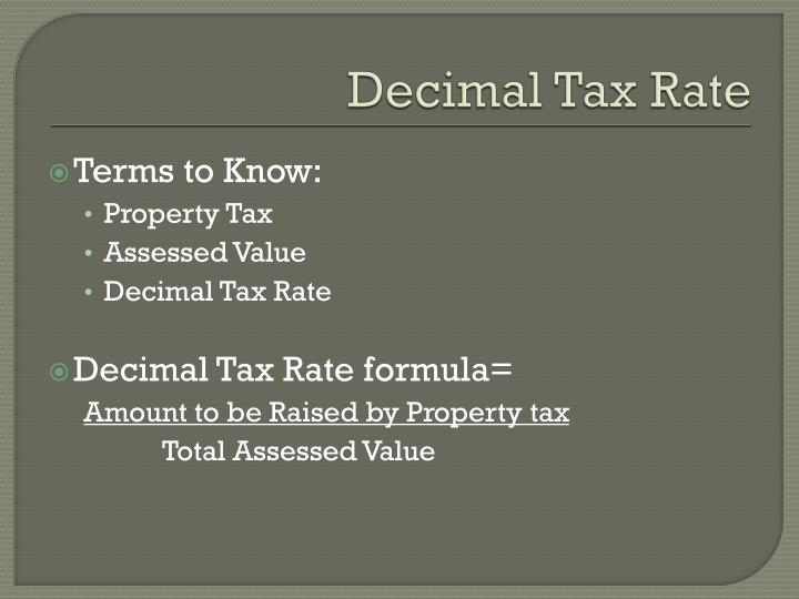 Decimal tax rate