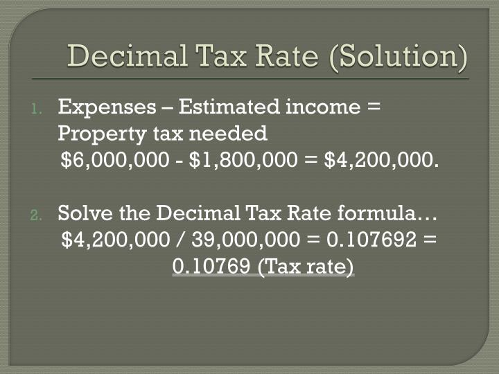 Decimal Tax Rate (Solution)