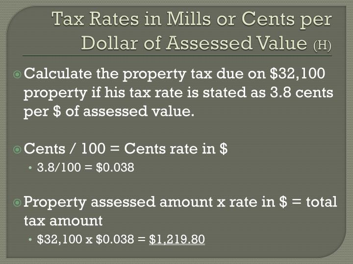 Tax Rates in Mills or Cents per Dollar of Assessed Value