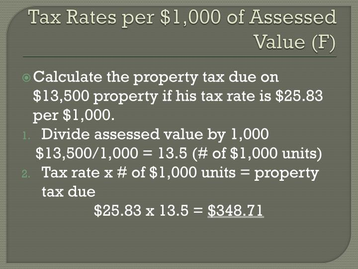 Tax Rates per $1,000 of Assessed Value (F)