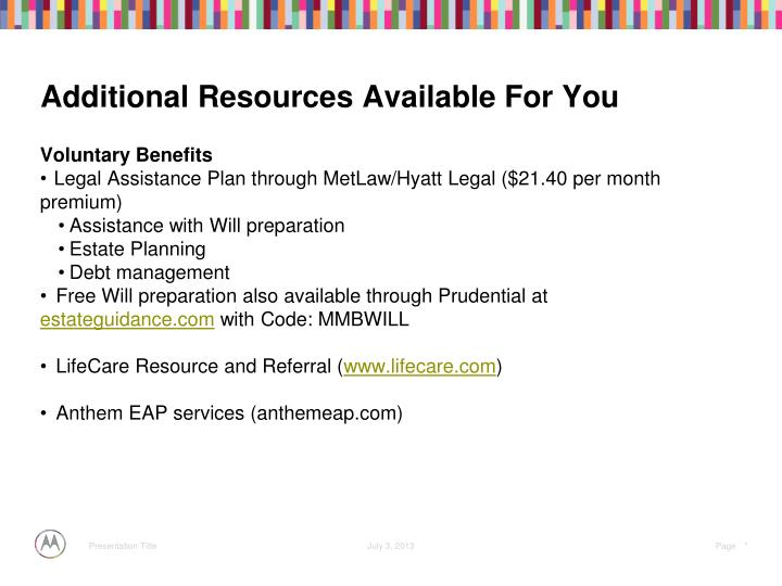 Additional Resources Available For You