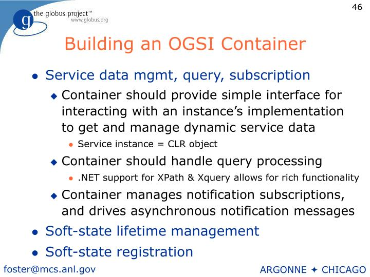 Building an OGSI Container