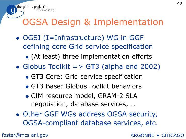OGSA Design & Implementation