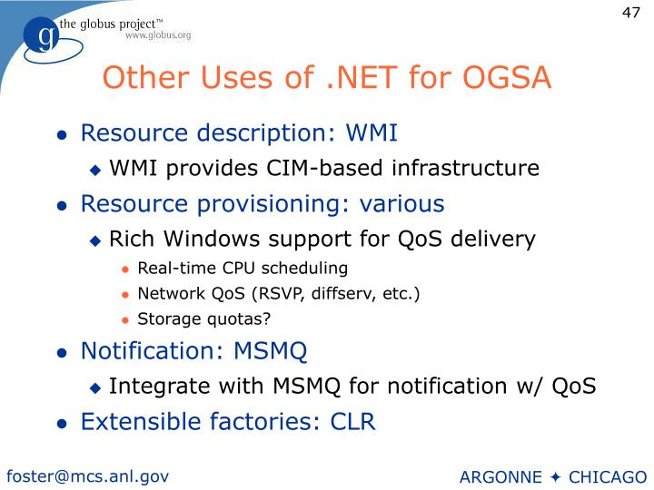 Other Uses of .NET for OGSA