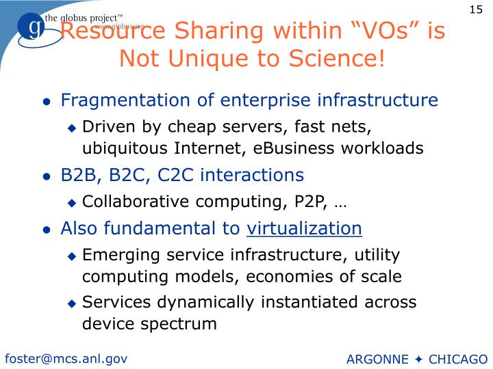 """Resource Sharing within """"VOs"""" is Not Unique to Science!"""