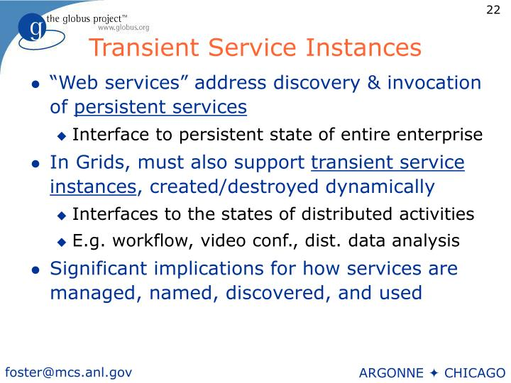 Transient Service Instances