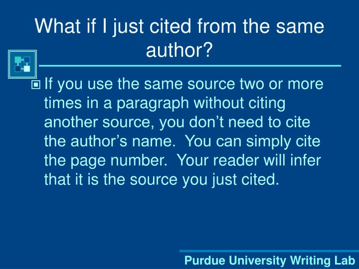 What if I just cited from the same author?