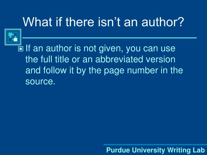 What if there isn't an author?
