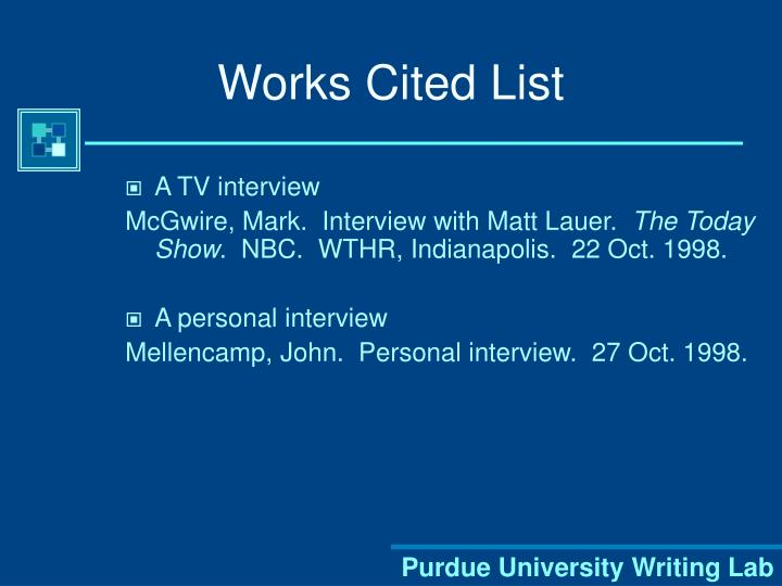 Works Cited List