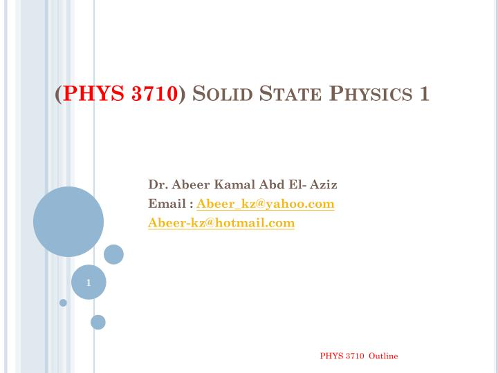 phys 3710 solid state physics 1 n.