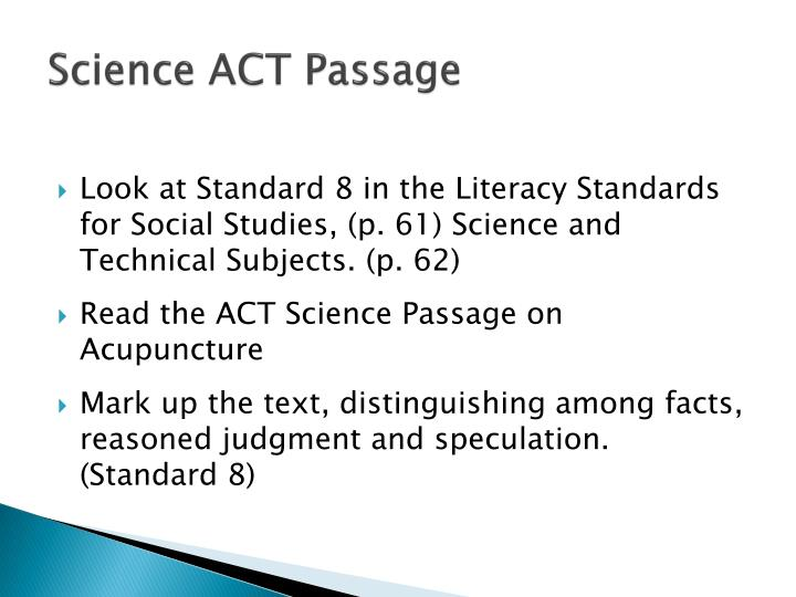 Science ACT Passage