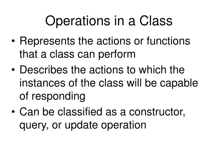 Operations in a Class