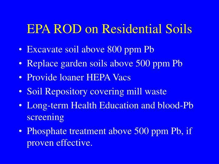 EPA ROD on Residential Soils