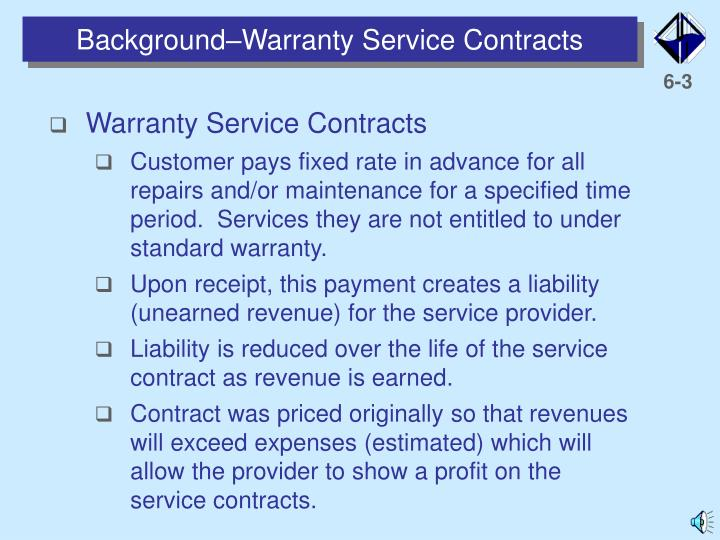 Background warranty service contracts