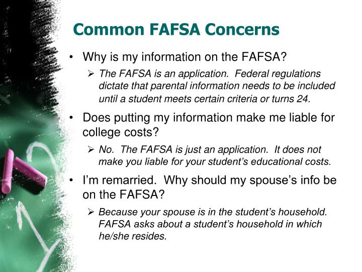 Common FAFSA Concerns