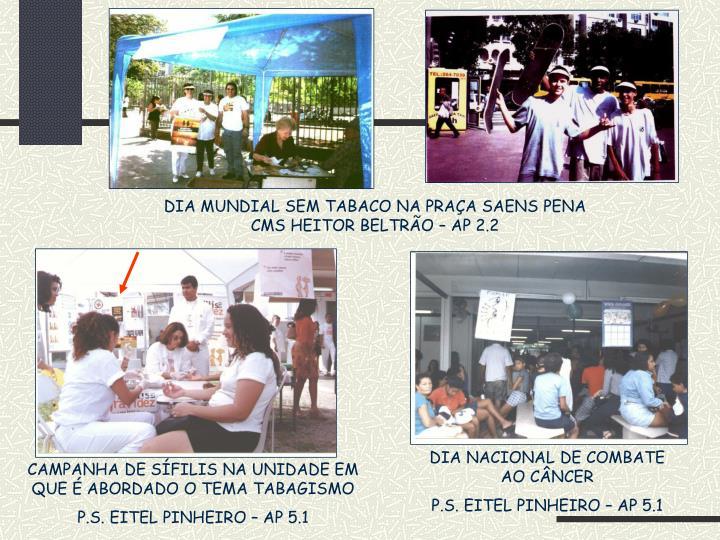 DIA MUNDIAL SEM TABACO NA PRAÇA SAENS PENA CMS HEITOR BELTRÃO – AP 2.2