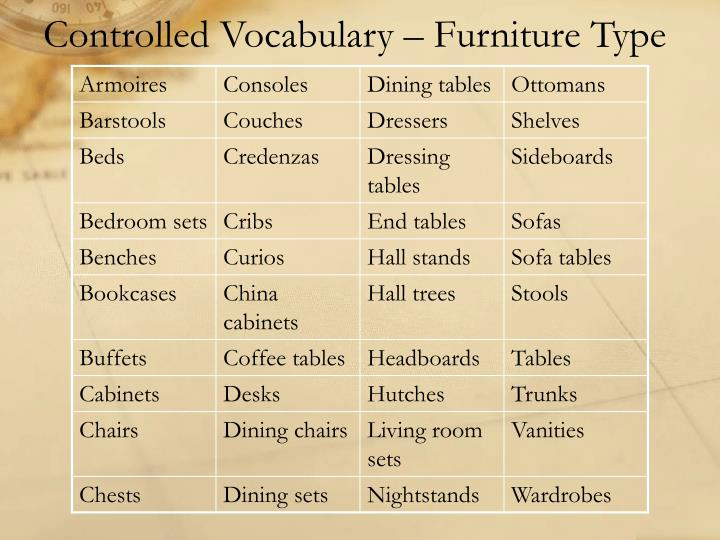 Controlled Vocabulary – Furniture Type