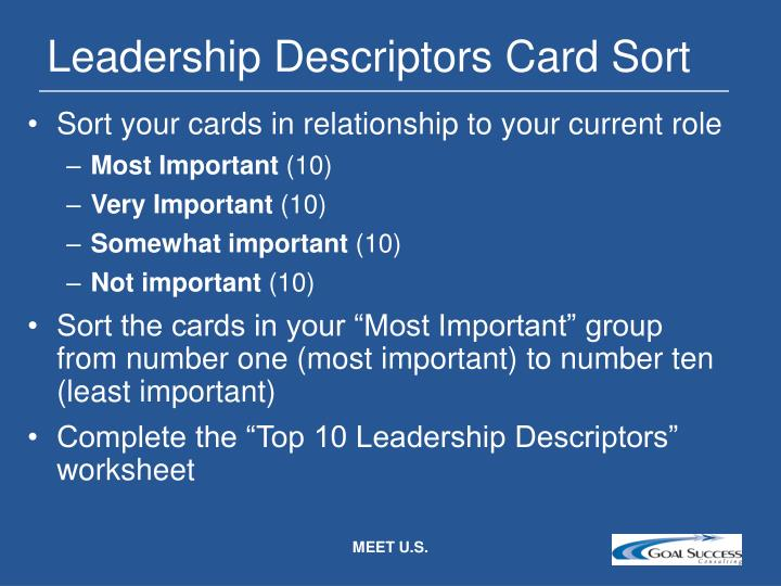 Leadership Descriptors Card Sort