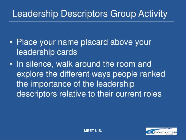Leadership Descriptors Group Activity