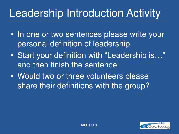 Leadership introduction activity