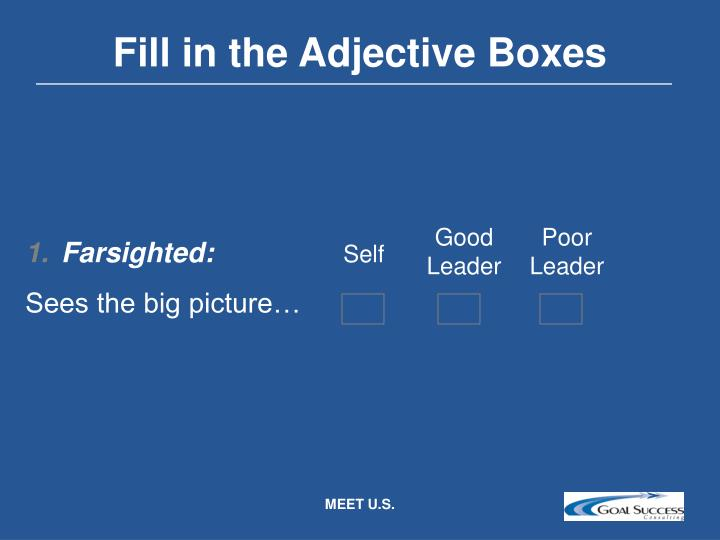 Fill in the Adjective Boxes