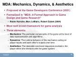 mda mechanics dynamics aesthetics
