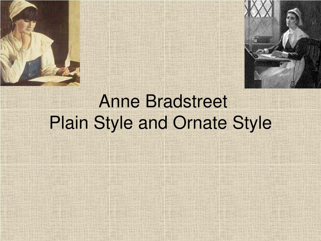 anne bradstreet writing style
