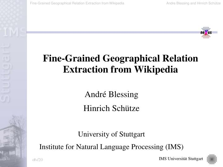 fine grained geographical relation extraction from wikipedia n.