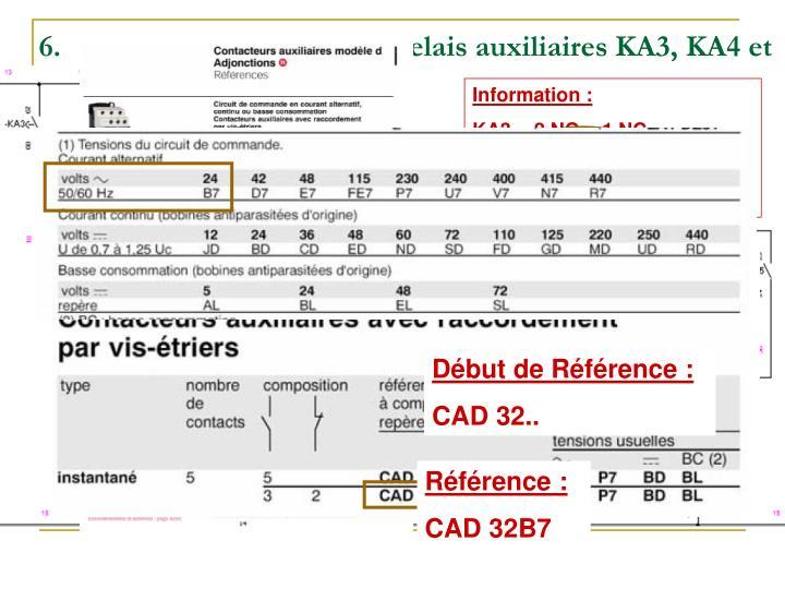 Effectuez le choix des relais auxiliaires KA3, KA4 et KA5 (raccordement par vis-étrier).