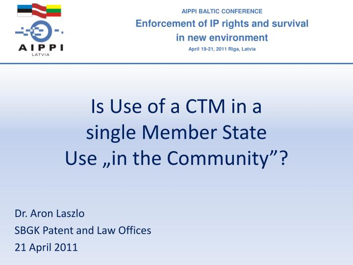 is use of a ctm in a single member state use in the community n.