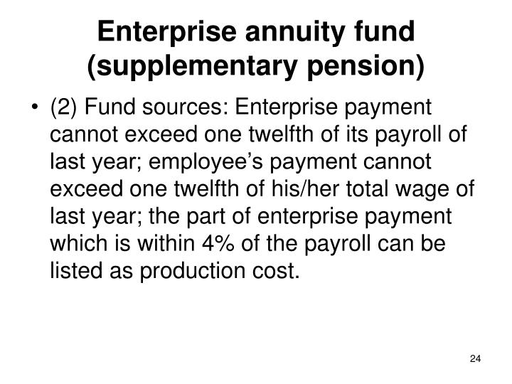 Enterprise annuity fund (supplementary pension)